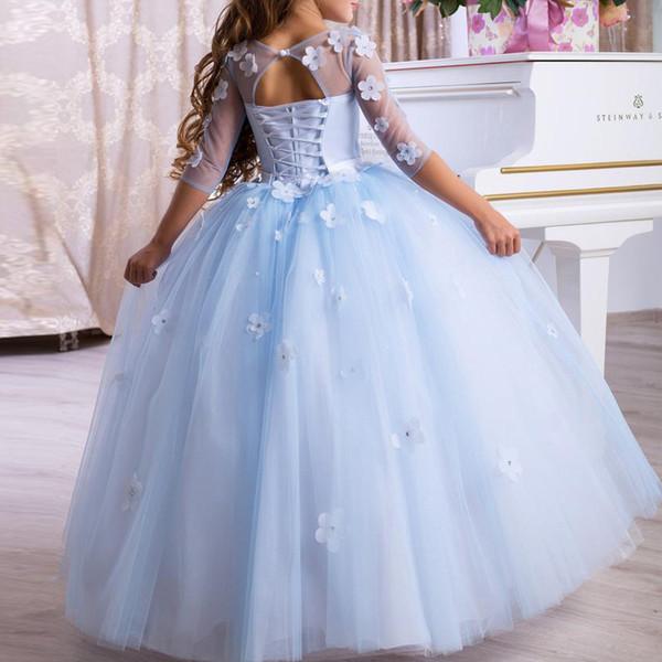 Gelin Fellow Çocuk El Yapımı Çiçek Kız Doğum Performans Catwalks Kabarık Prenses Long Avrupa Ve Amerika Çocuk Elbise