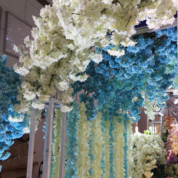 Ev Düğün Dekorasyon Çiçek Buket 5pcs 1 metrelik legnth DIY Yapay Kiraz Çiçeği Şube Çiçek İpek Wisteria Vines