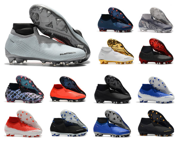 Sıcak Nike Phantom VSN Vizyon Elite DF FG AG Zafer Paketi Tamamen Şarj Mens Yüksek Ayak Bileği Futbol Cleats Futbol Ayakkabıları