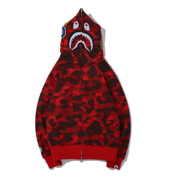New Men's Clothes Hoodies Jacket Red Camouflage Shark Print Men Fashion cotton Hooded Sportswear Inner Fleece Hoody sweatshirt Coat