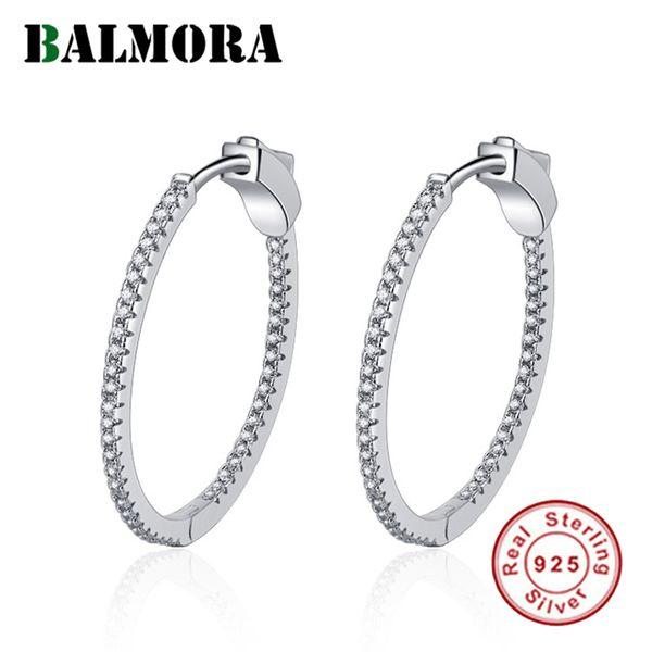 BALMORA 100% Real 925 Sterling Silver Circle Zircon Korea Style Earrings for Women Small Hoop Huggie Earrings Jewelry JWSE857