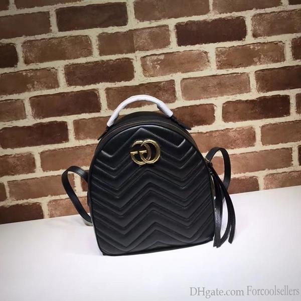 Lüks Kalite Üst Marka Tasarım Harf Toka V şeklinde sırt çantası Kadınlar Çizgili Moda Çanta Gerçek Deri 476.671 Seyahat Çantası