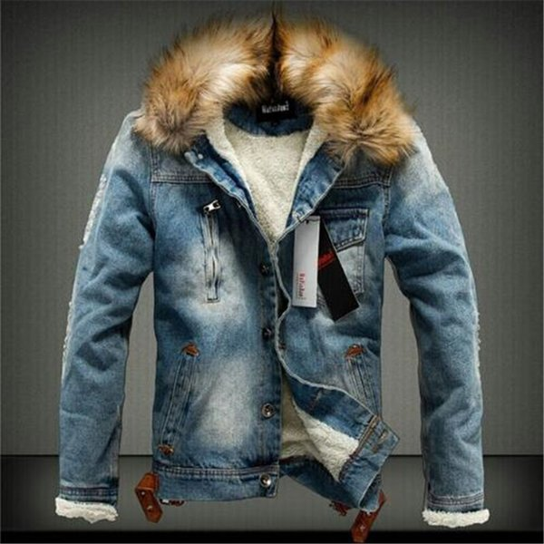 2018 Fashion Male Winter Added Heat To Keep Warm Heavy Hair Collar Denim Jacket/men Slim Fit Pure Color Casual Cowboy coat