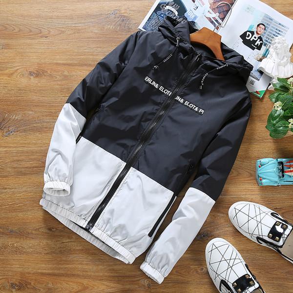 2019 Homme Automne Manteaux Vêtements vestes coupe-vent pour hommes à capuchon mince lumière Patchwork de Outwear imperméable