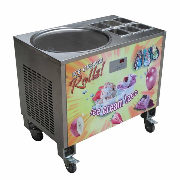 Free shipment 20inch round ice pan+6 tanks fried ice cream machine fry ice cream roll machine w auto defrost,PCB of samrt AI temp.controller