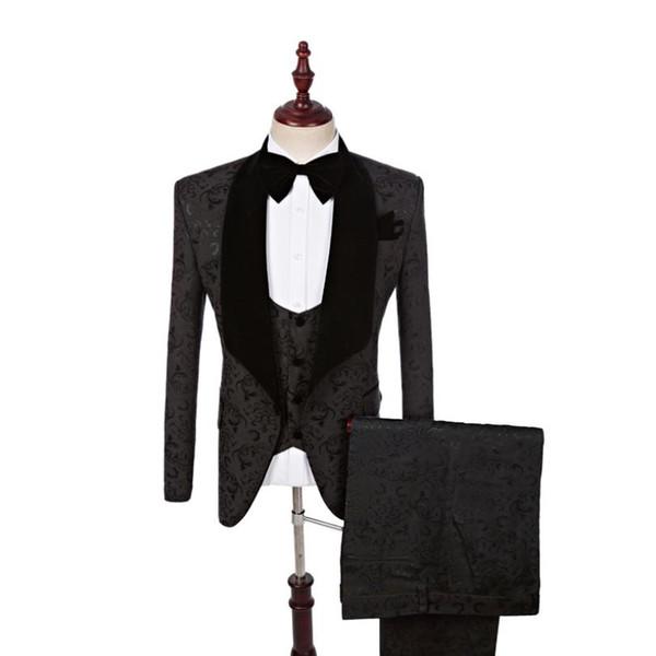 Preto Branco Mens Ternos de Casamento Padrinhos Noivo Terno Feito Sob Encomenda Plus Size Designer Formal Homens Ternos De Casamento Noivo Jaqueta + Calça + colete + Gravata