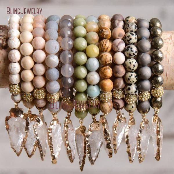 Crystal Quartz Arrowhead Charm Bracelets Pyrite Stone Beads Bracelet Arrow Bracelet With Gold Rhinestone Ball Bm17426 C19021501