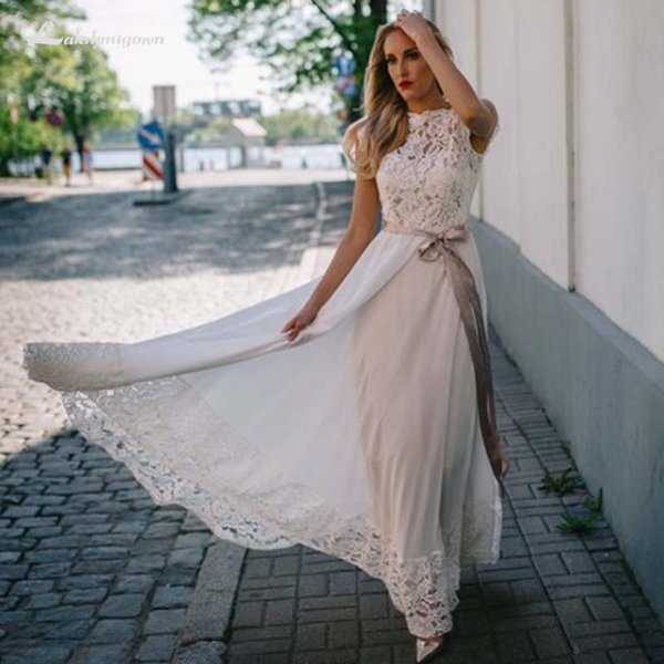Simple Chiffon Beach Wedding Dresses with Ribbon Sash Lace Top and Backless Boho Wedding Gowns Plus Size Long Bridal Dress
