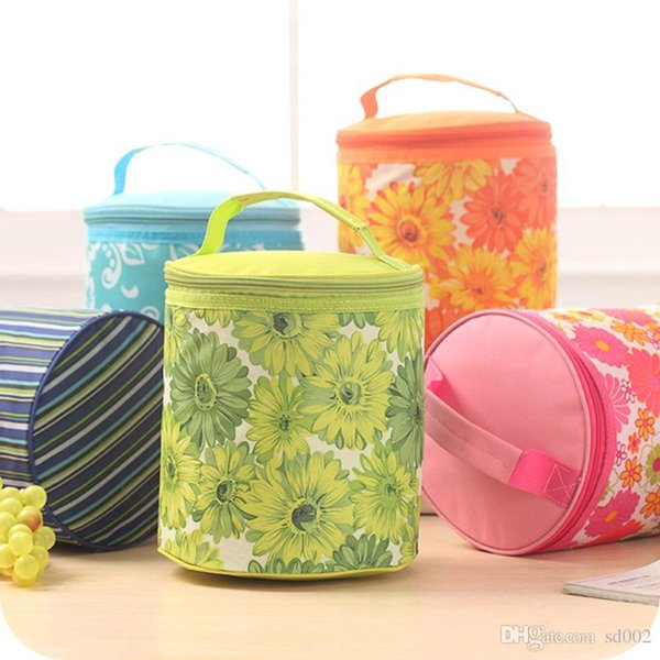 Oxford Broken Flowers Insulated Cooler Cylinder Water Proof Bag Heat Preservation Portable Package Zipper Ice Pack Hot Sale 6 4sdC1