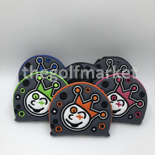 top popular Free Shipping Premium Quality Golf PU Leather Mallet Putter Cover Ghost Custom Design Golf Headcover for Mallet Putter Head 2019