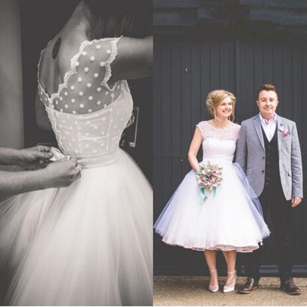 spring boho wedding dresses sheer cap sleeves tea length puffy tulle a line bridal gowns plus size de luxe robe de mariée