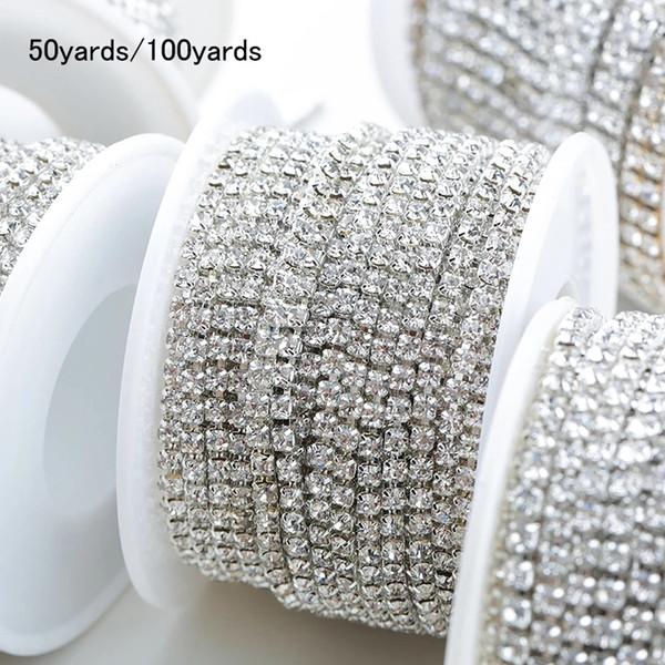 Toptan! Temizle Kristal Gümüş Taban Kupası Rhinestone Zincir Giyim Dikiş Tarzı diy Güzellik Kristal Aksesuarları