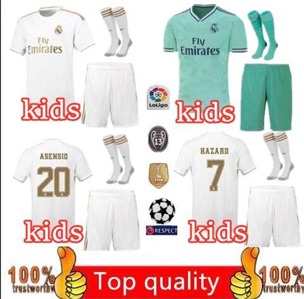 super popular d6ce1 cdec4 19 20 real madrid occer jer ey kid kit with ock 2019 2020 hazard kid kit  viniciu jr modric bale football hirt i co uniform kit