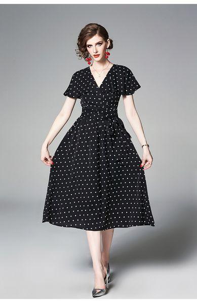 Short Sleeve Women Summer Tea Dresses V Collar Polka Dot Pattern Polyester Fabric A Line Women Vacation Summer Midi Dresses