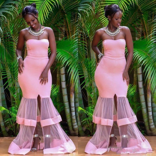 Black Girls Simple Mermaid Party Dresses Pink South African Front Split  Formal Prom Dress Cheap See Through Sexy Maid Of The Honor Gowns Buy Party