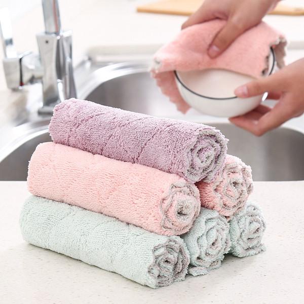 Toalla de cocina Toalla de microfibra Toalla de mano Sin pelusa Trapos absorbentes Almohadilla de fregado engrosada Paño de limpieza del hogar Aceite antiadherente