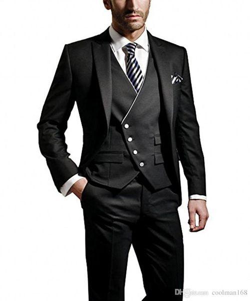 Moda novio negro esmoquin pico solapa padrinos de boda para hombre vestido de novia popular hombre chaqueta blazer 3 piezas traje (chaqueta + pantalones + chaleco + corbata) 973