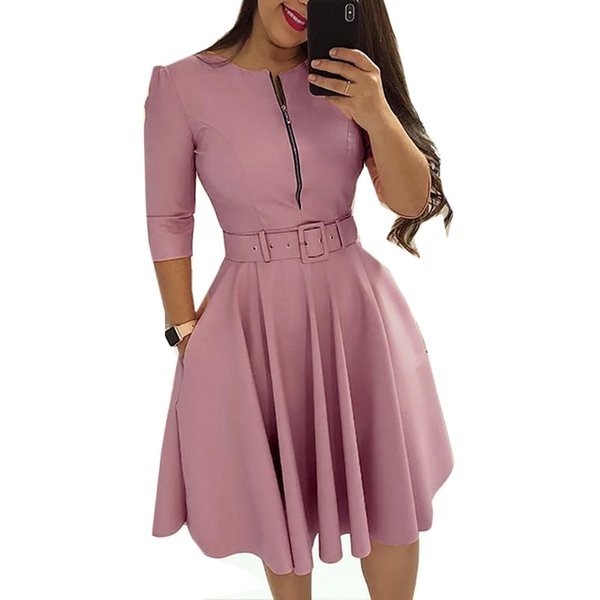 Women O Neck Half Sleeve Elegant Tunic Party Dress Female Zipper Pleated Casual Office Work Lady Vintage Vestido With Belt