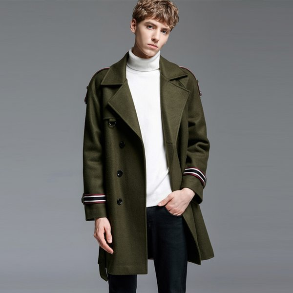 New Mens Coats Luxury Wool Double Breasted Thick Mens Jackets And Coats Autumn Winter Army Green Long Style Man Trench