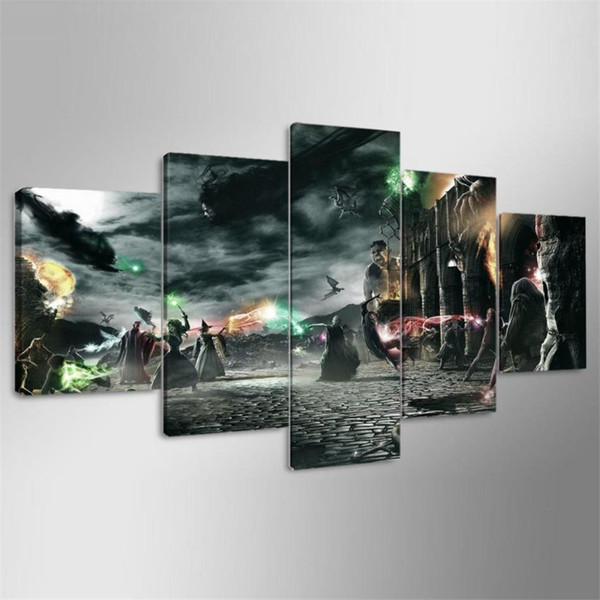 Harry Potter Fight,5 Pieces Home Decor HD Printed Modern Art Painting on Canvas (Unframed/Framed)