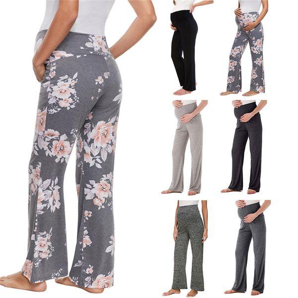 Femmes maternité jambes larges pantalons floral droit polyvalent confortable Lounge Stretch pantalons de grossesse loft Yoga Work Planet Pants 6pcs LJJA2312