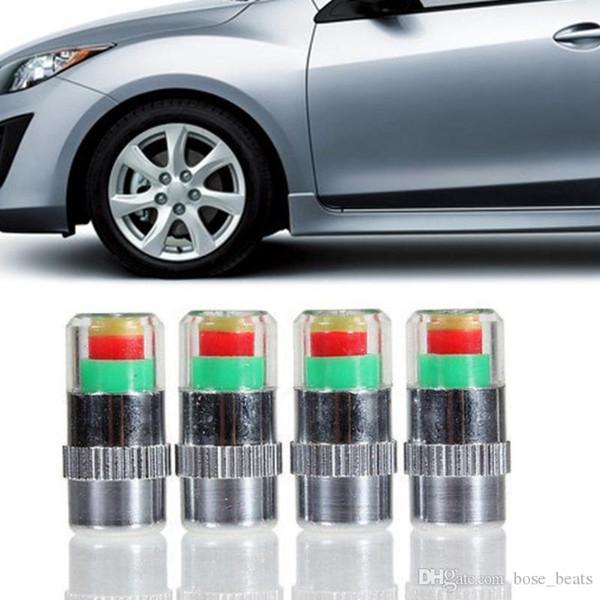 4pcs/set Mini Car Tire Tyre Pressure Caps TPMS Tools Warning Monitor Valve Indicator 3 Color Alert Diagnostic Tools Accessories HHA238