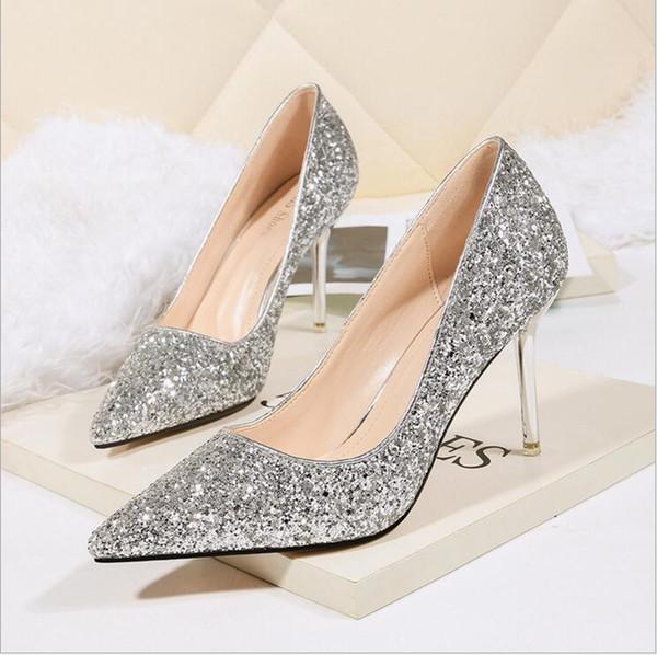 ff076e7c716 2019 Womens High Heels Prom Wedding Shoes 9cm Stiletto Ladies Crystal  Silver Glitter Rhinestone Bridal Shoes Thin Heel Party Pumps Shoes New  Scholl ...