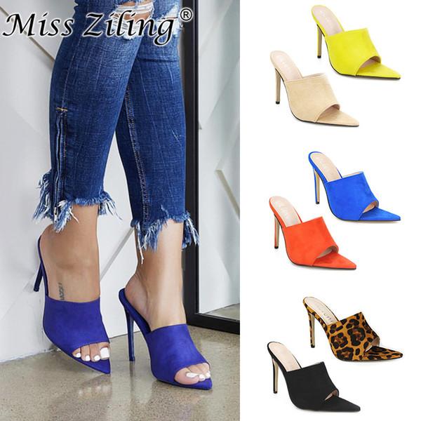 Koovan Ayakkabıları Kadın Terlikleri Balık Gaga Sivri Yüksek Topuklu Büyük Kod Dış Ticaret bayan Ayakkabıları Sandalet Turuncu