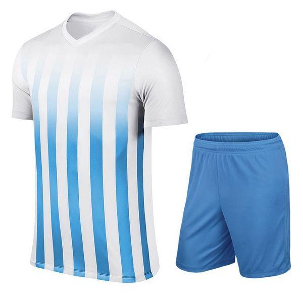 Bleu clair Enfants adultes formation de soccer garçons hommes jersey pantalon t-shirt manches courtes sport costume de survêtement de football occasionnel shippiing gratuit