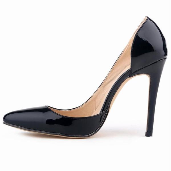 Bombas de las mujeres de moda de charol clásico zapatos de tacones altos Nude Sharp Head Paltform boda vestido de mujer zapatos más el tamaño 35-42