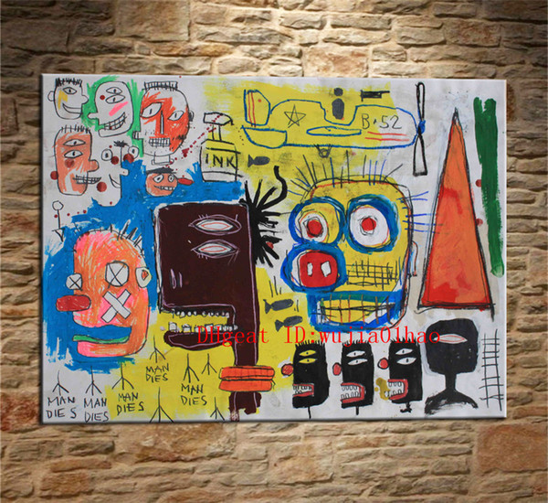 top popular Jean-Michel Basquiat Untitled Graffiti , Canvas Painting Living Room Home Decor Modern Mural Art Oil Painting #05 2019