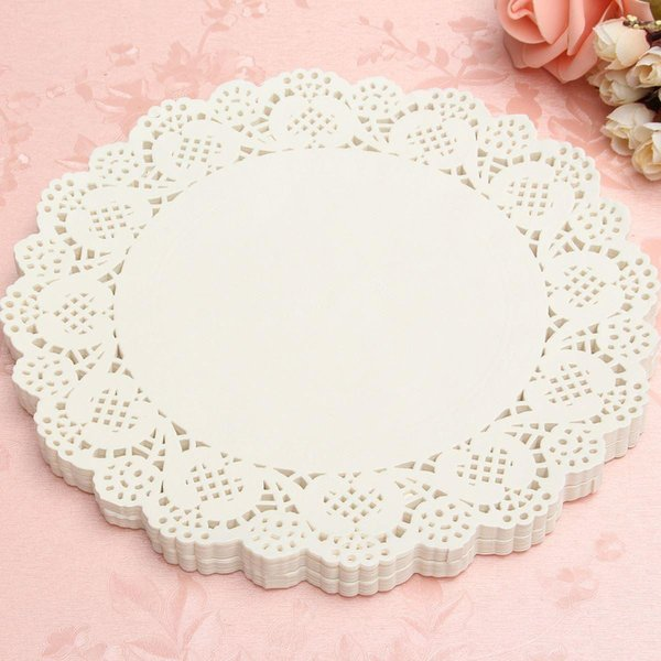 Wholesale-120Pcs White Round Lace Paper Doilies Plates Mats Coasters Placemats Wedding Events Party Table Gift Bag Decorative Accessories