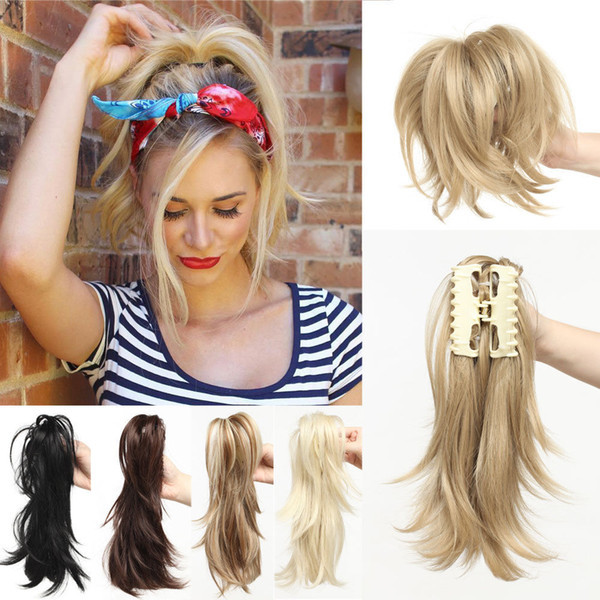 12 Inch Clip on Ponytail Hair Extensions Thick Jaw Claw On Ponytail With Braid H