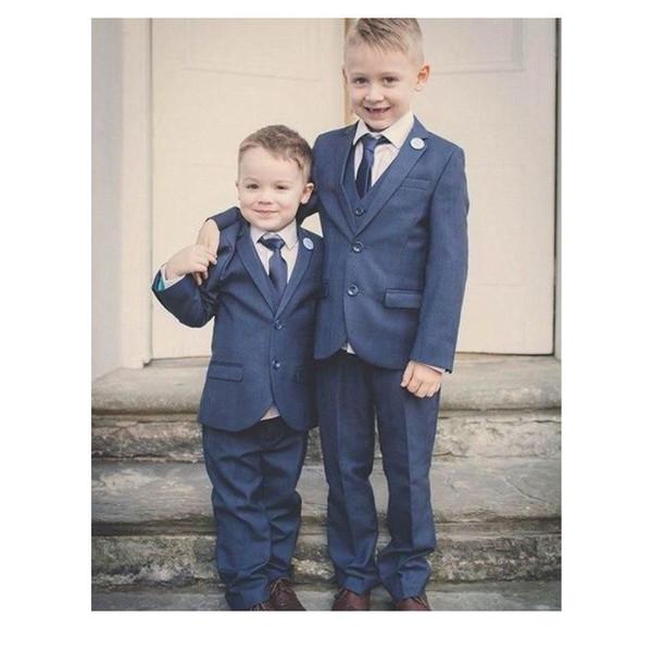 Newest Blue Boy Tuxedos 2019 Two Buttons Notch Lapel Children Suit Kid Wedding Prom Suits (Jacket+Pants+Vest+Tie)