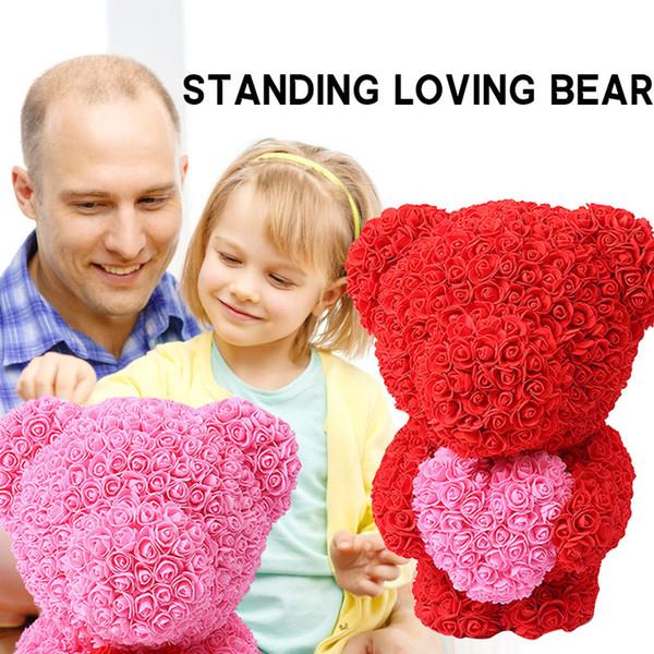 Artificial Rose PE Birthday Rose Bear Bear Dolls Amor Decoraciones de boda Preciosa novia de San Valentín Simulación
