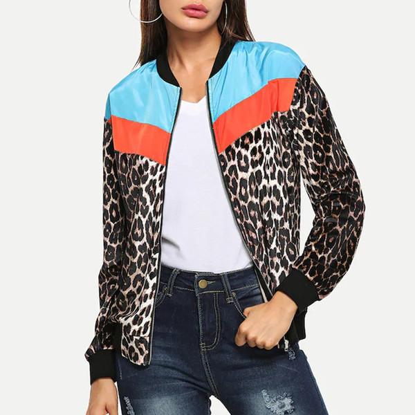 FREE OSTRICH NEW 2019 top Fashion Women Casual Leopard Patchwork Zipper Long Sleeve Jacket Outerwear Coat