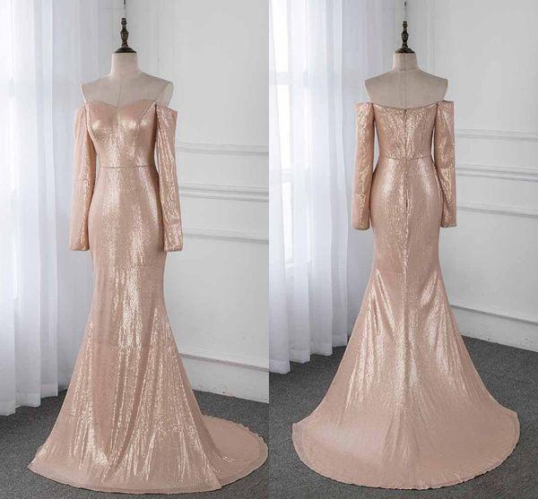 Abiti da damigella d'onore con strass in oro rosa 2019 con scollatura a balze e maniche lunghe con paillettes e maniche lunghe