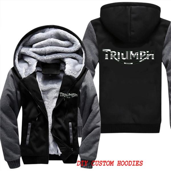 Sweatshirt Hoodies Triumph Motorrad Flagge Winter verdicken Fleece Herrenjacke Sportswear Crossfit Zip Up Hoody