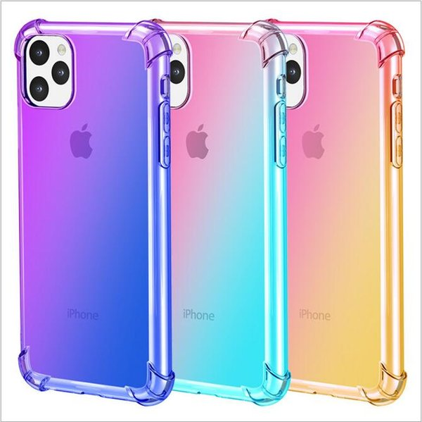For Iphone 11 Phone Case IPhone 5.8 6.1 6.5 2019 Rainbow Gradient Color  Clear TPU Four Corner Airbag Drop Protection Sleeve Soft Phone Cover