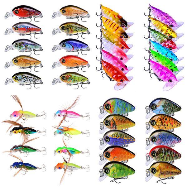 Misto 4-Modelli 40 pz / lotto Esche Dure di Plastica Esche Ganci Da Pesca 10/12 # Gancio Esca Artificiale Pesca Attrezzatura Da Pesca Accessori