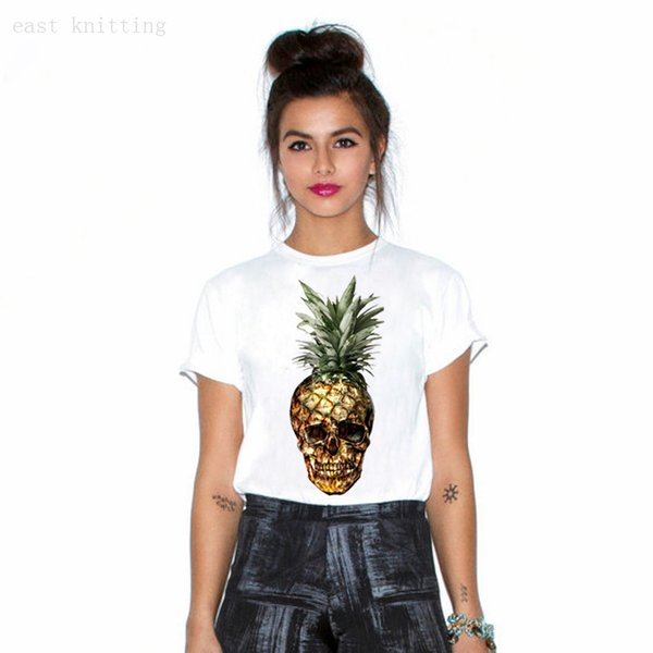 Punk Style Women Short Sleeve White Tops Pineapple Skull Printed Personality T-shirt