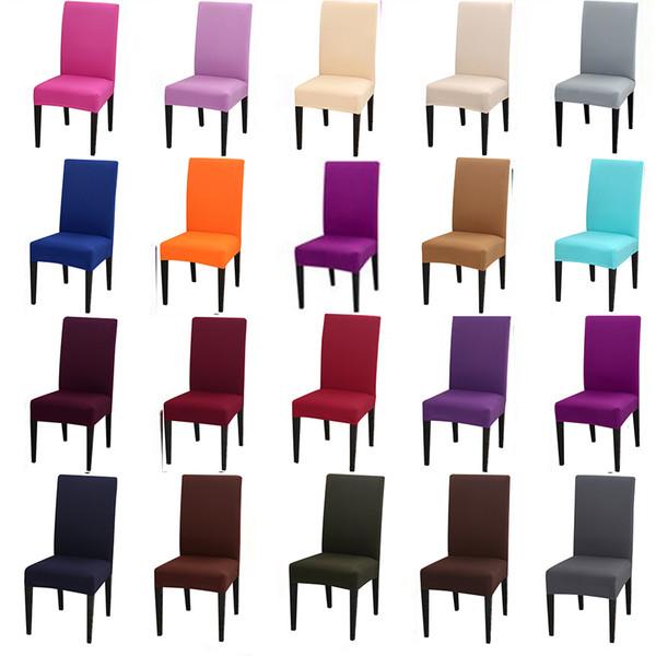 Couleurs solides Flexible Strand Spandex Couverture de Chaise Pour la Fête De Mariage Élastique Multifonctionnel À Manger Meubles Couvre Décor À La Maison