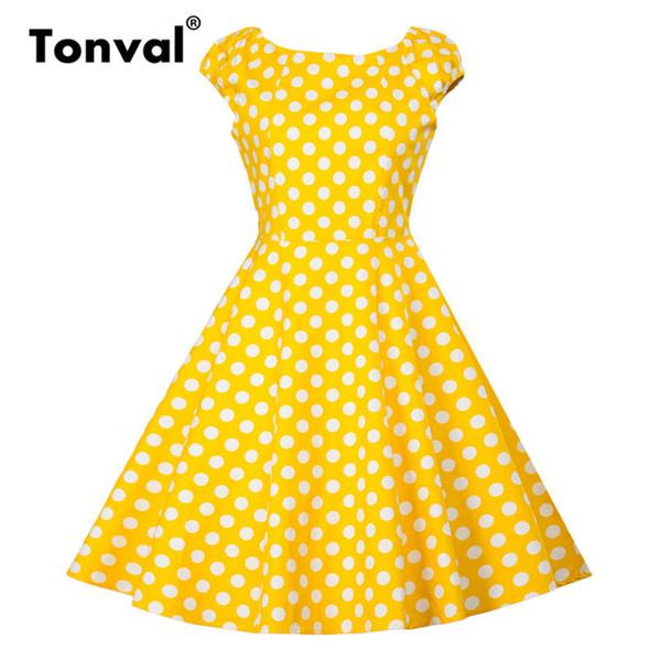 Tonval Hepburn Vintage Vestido Amarelo Mulheres Cap 2019 Algodão Verão Casual Vestido Polka Dot Rockabilly Retro Vestido Y19070901