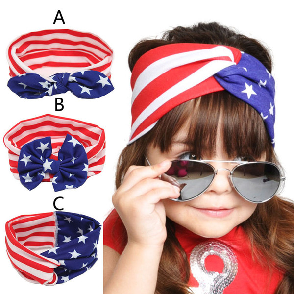 Baby American Flag euro stars stripe bowknot Headbands 3 Design Girls Lovely Cute Bow Hair Band Headwrap Children Elastic Accessories KK3891