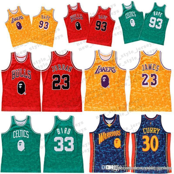 8473f49ca00 30 CURRY 93 BAP JERSEYS James Lebron Bulls l23 Michae Larry Men 33 Bird  Stitched Basketball Jerseys