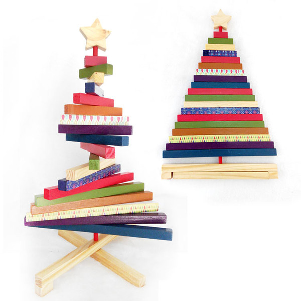 Striped Rotating Wooden Christmas Tree Ornament Color Xmas Decoration Craft Block Toys For Kid's Gift Home New Year
