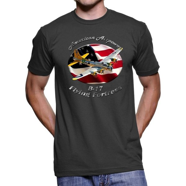 B-17 Flying Fortress American Airpower Men `s Dark T-Shirt Billig Großhandel T-Shirts Hip Hop lustiges T-Shirt, Herren T-Shirts 2019 heiße T-Shirts