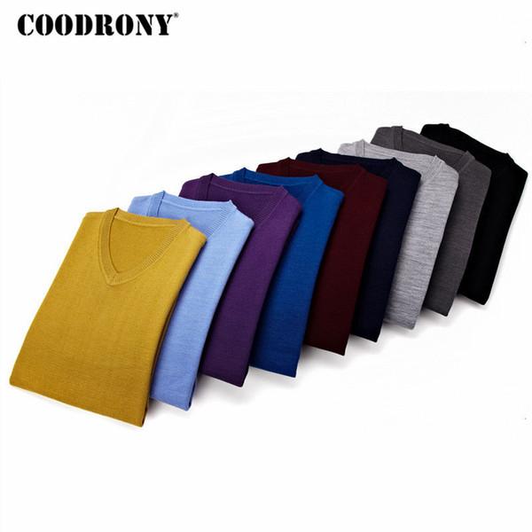 COODRONY punto de los hombres ropa otoño invierno 2018 Tire Homme Cashemre suéteres del suéter ocasional de los hombres con cuello en V de lana Jersey Hombre