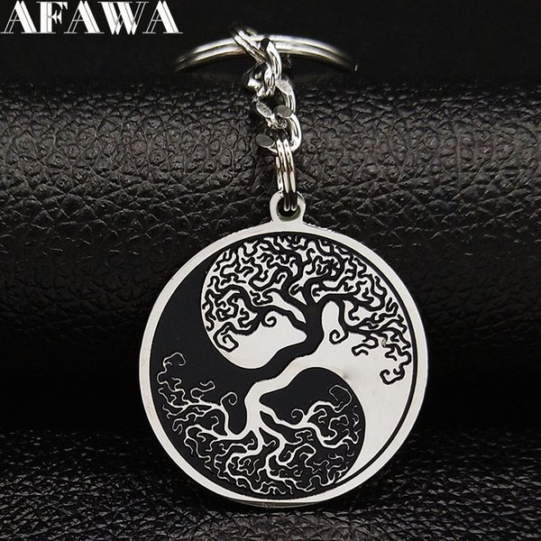 2019 Fashion yin yang Tree of Life Stainless Steel Keyring for Men Black Color Key Chain Car Jewelry llaveros mujer K775813B