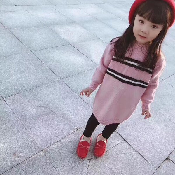 Children Sweaters Baby Girls Pink Knitted Sweater Clothes Autumn Winter New Kids Sweaters in stock